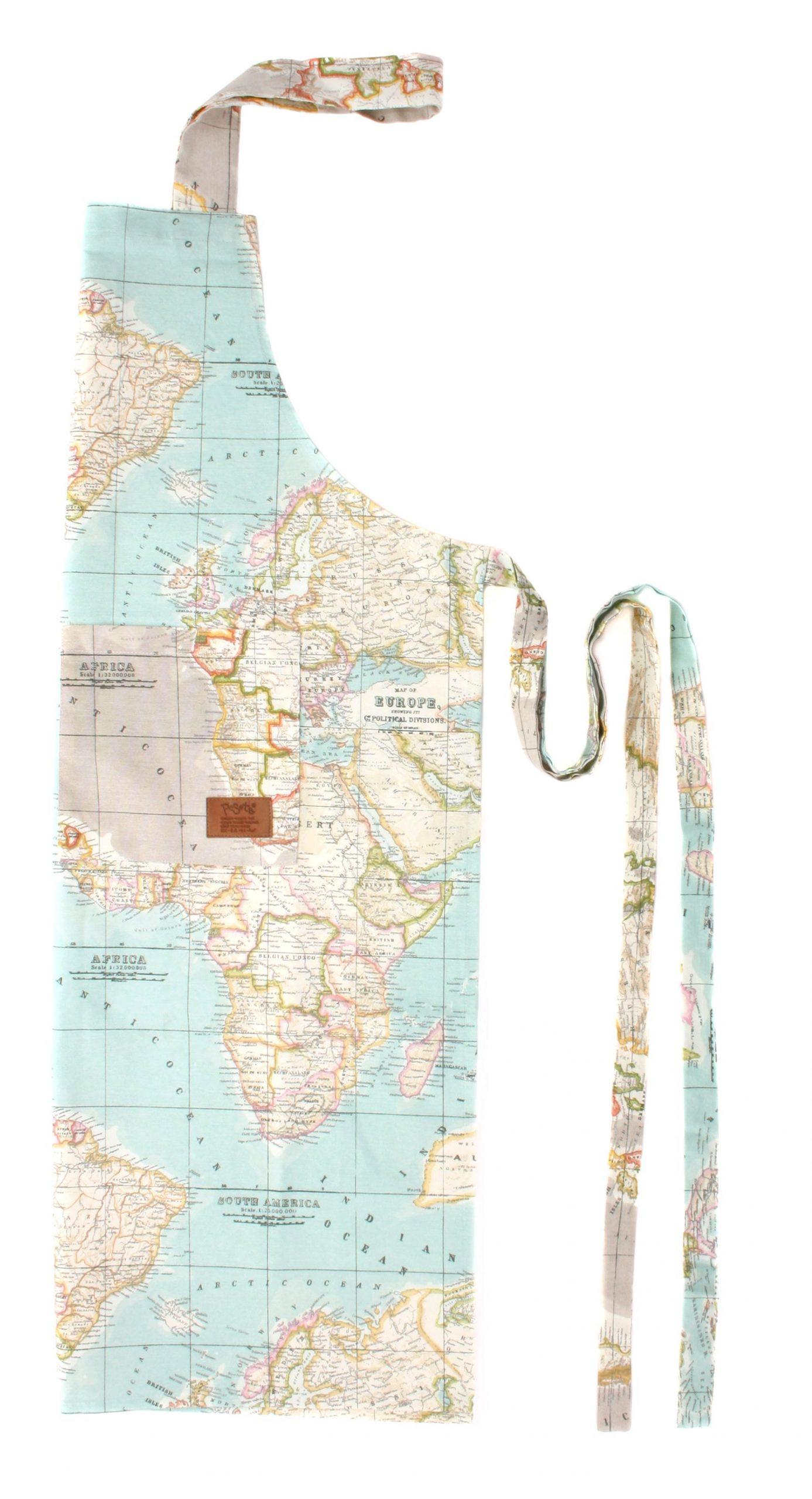 peSeta delantal tela mapa azul