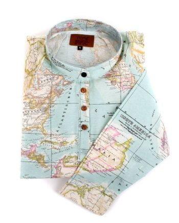 peSeta blue map shirt dress