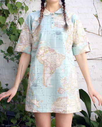 vestido Fechaladrona mapa azul corte camisero peSeta