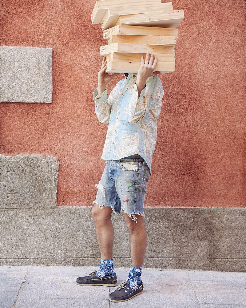 camisa hombre peSeta mapamundi azul