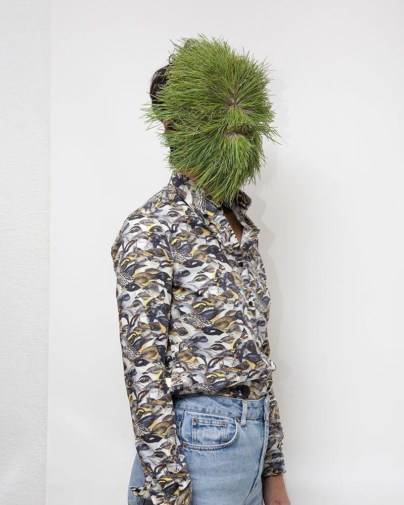 Printed birds long sleeve shirt. Original pattern designed by peSeta.