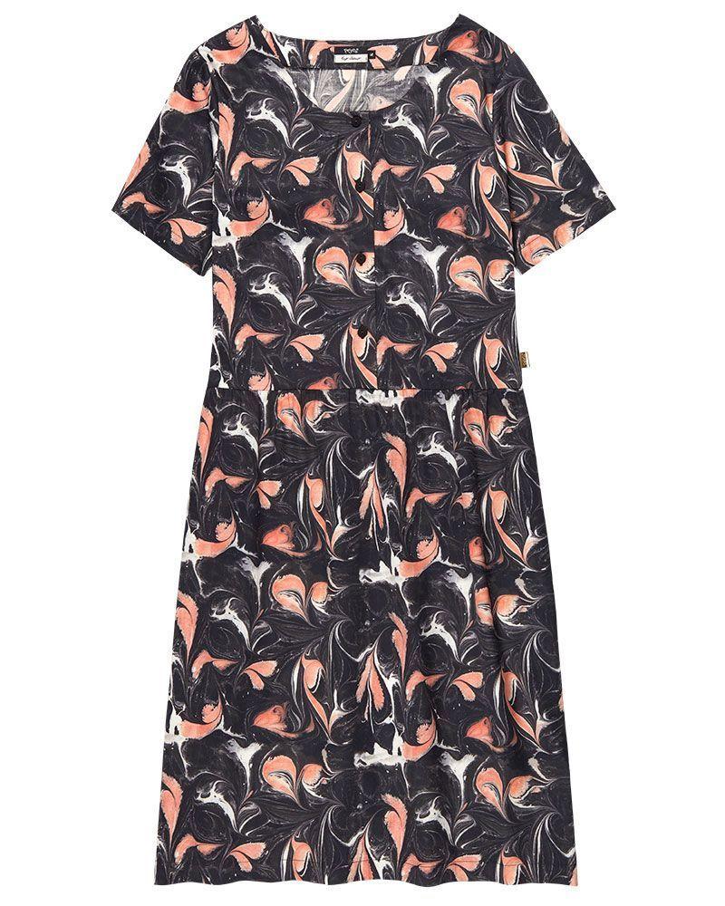 vestido estampado marmolado manga corta mujer