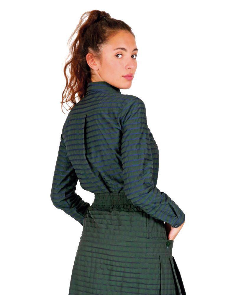 camisa verde rayas mujer