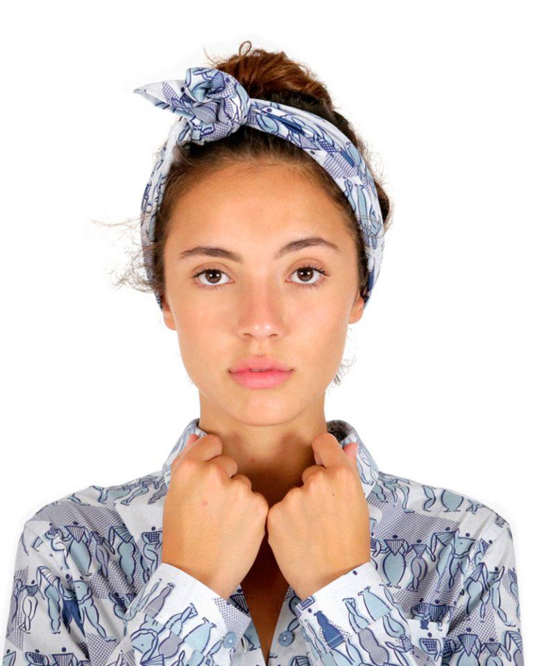 pañuelo estampado mujeres azul