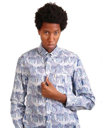 Long sleeve light blue pattern shirt for men.