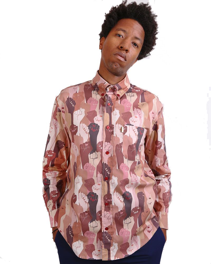 Long sleeve Men shirt with multicolored women hands.