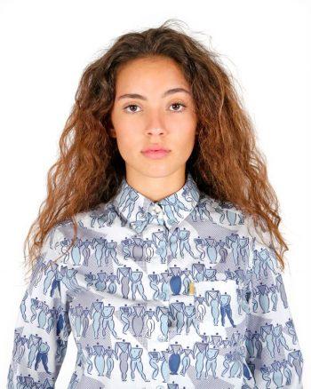 Long sleeve light blue pattern shirt for women