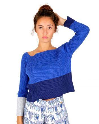 Blue knit jersey 100% merino wool