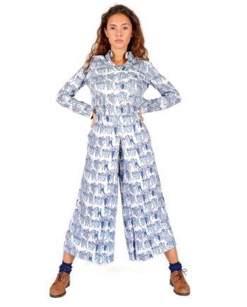 pantalón culotte talle alto estampado estilo bauhaus