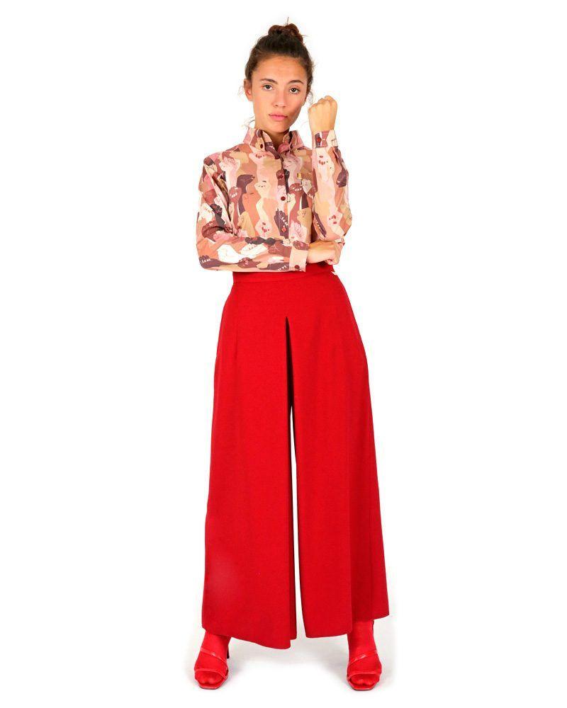 elegante pantalón rojo acampanado bolsillo estampados cintura alta hecho en España
