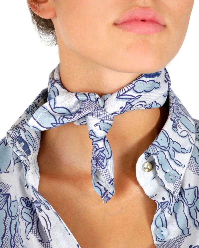 pañuelos cuello bolsillo cabeza estampado siluetas azules hecho en España