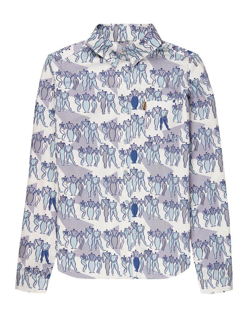 Camisa estampada azul de manga larga y corte elegante.
