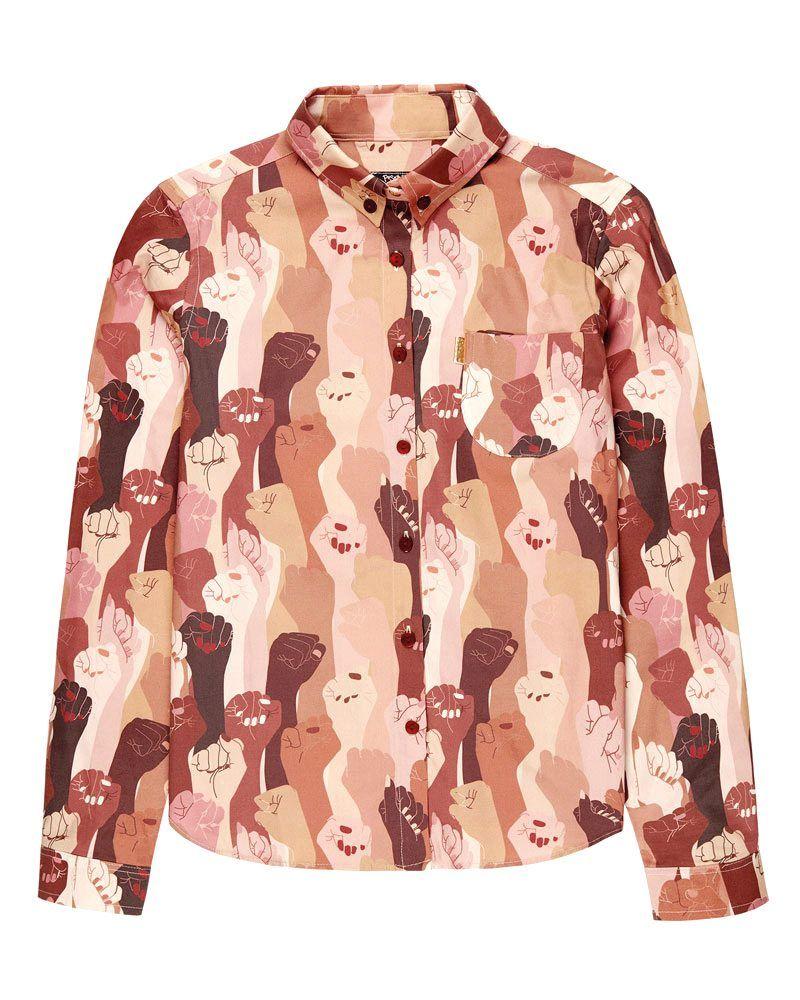 Camisa en tonos claros de manga larga y estampado de puños