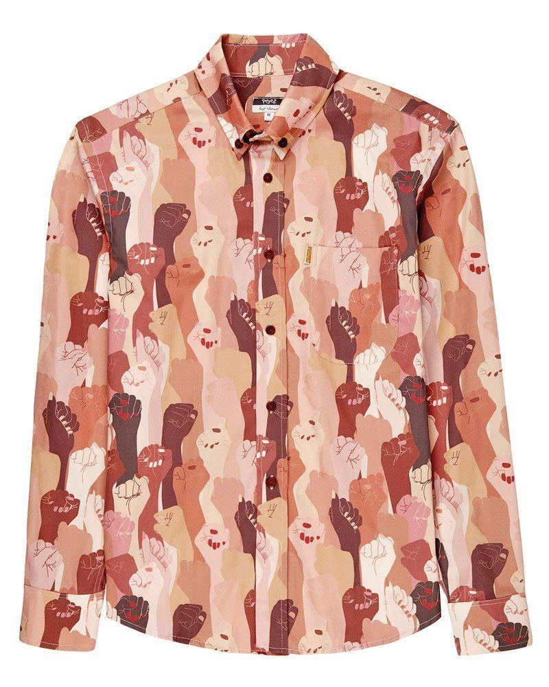 camisa manga larga unisex estampada beige rosa marrón puños de mujeres la peSeta