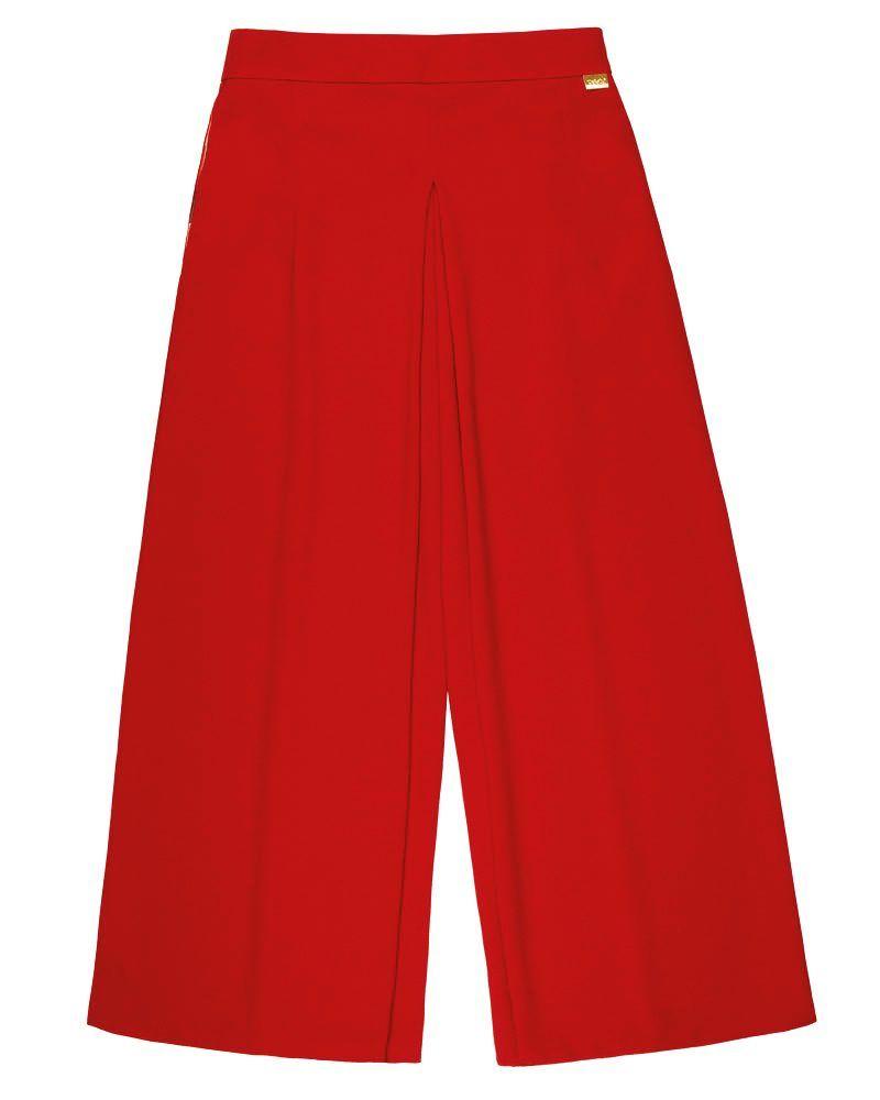 pantalón largo culotte acampanado rojo