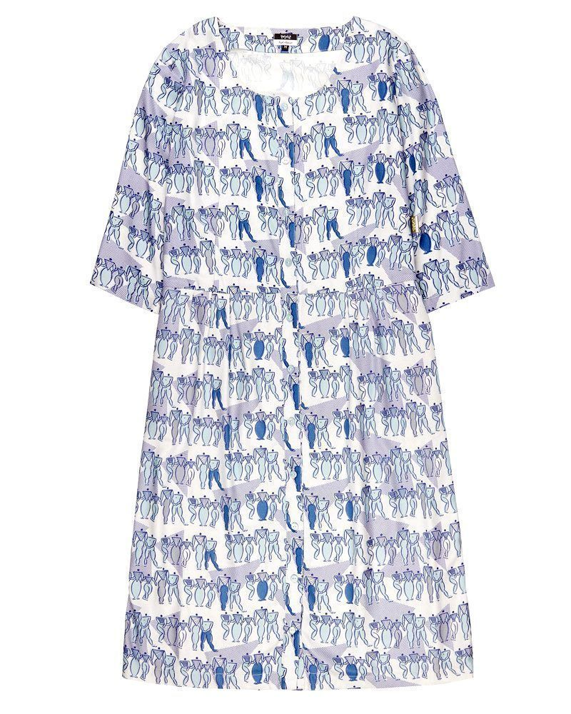 Vestido azul estampado con botones, manga tres cuartos y largo midi.
