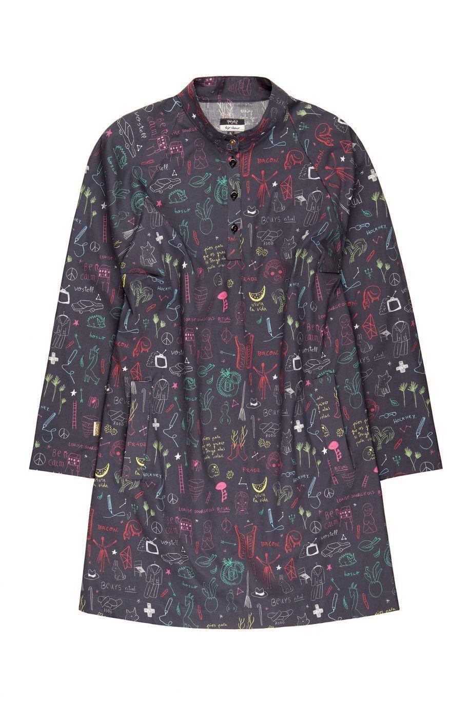 vestido camisero con bolsillos y estampado de Aitor Saraiba