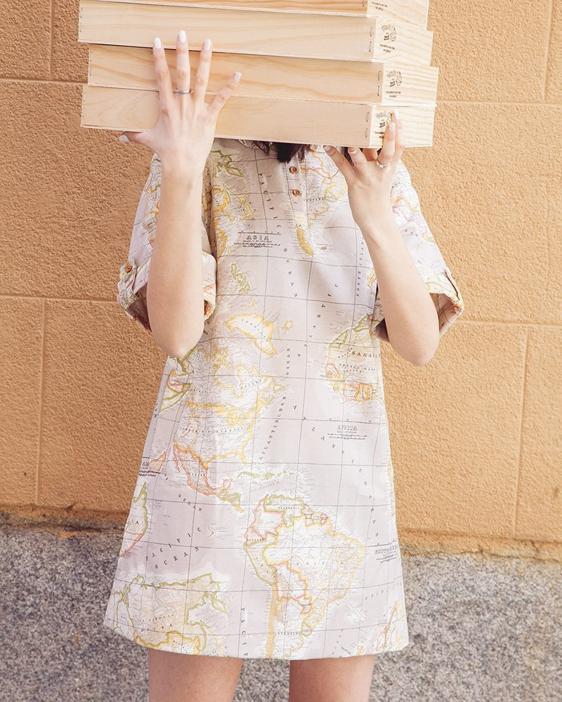 vestido mapa marrón beige peSeta