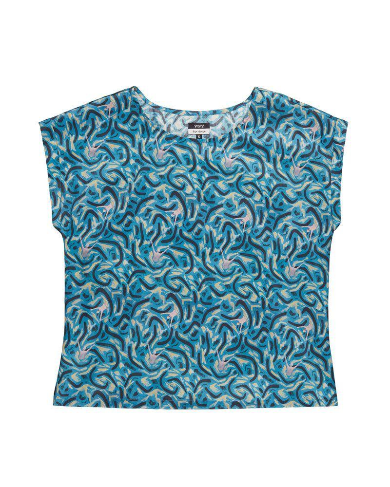 Blusa azul estampado marítimo con cuello redondo, manga corta y longitud media