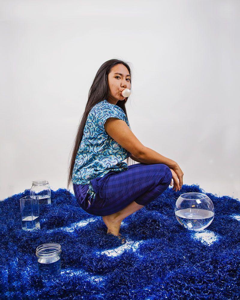 blusa villoria estampado azul marea