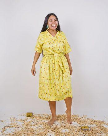 Falda largo midi amarilla estampada bolsillos laterales cierre elástico