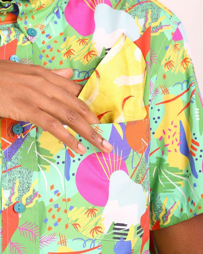 pañuelo de bolsillo amarillo estampado Fuego tamaño pequeño peSeta