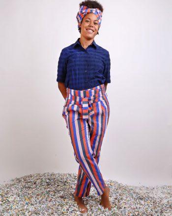 pantalón largo a rayas multicolores tela bañador