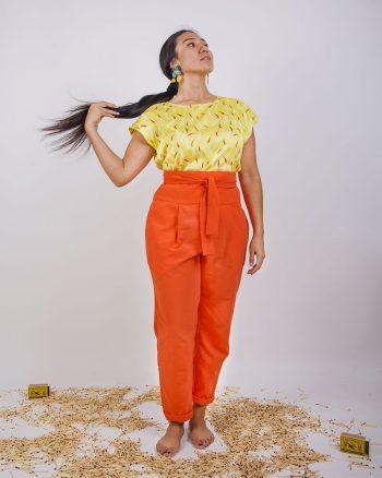 pantalón largo naranja liso tela bañador