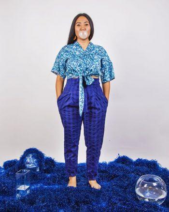 pantalón azul marino cuadros tela bañador talle alto cierre nudo peSeta
