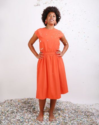 vestido naranja liso largo con nudo en espalda Aguasol peSeta