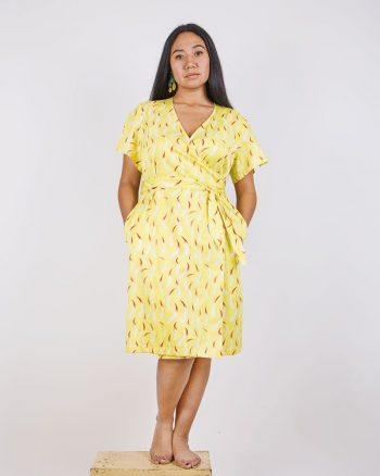 vestido estampado amarillo largo cruzado cierre nudo Anakena Fuegos
