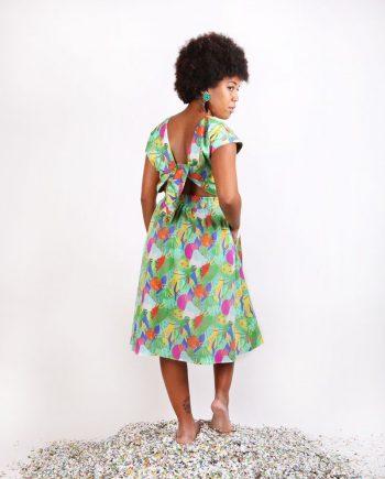 vestido verde estampado largo con nudo en espalda Aguasol Fiesta peSeta