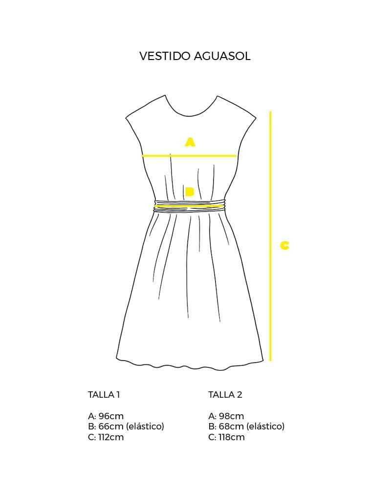 guía de tallas vestido sin mangas aguasol peSeta.