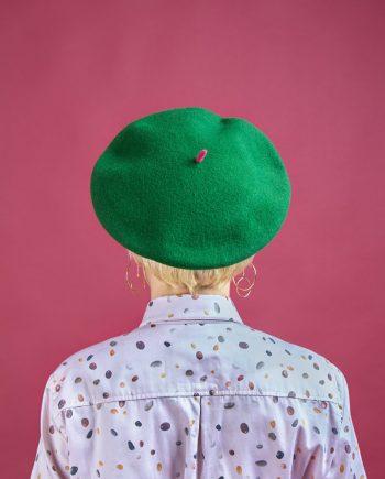 boina verde Elósegui forro estampado de peSeta
