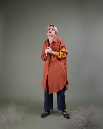 camisa larga oversize bicolor