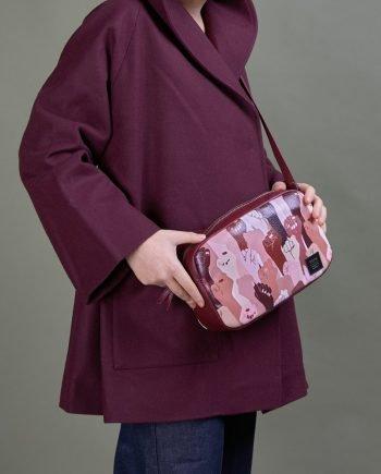 chaquetón lana bolso cruzado pieles