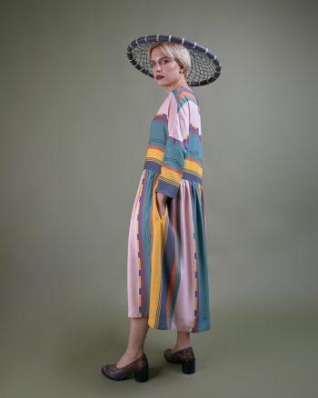 vestido camisero largo estampado rayas peSeta