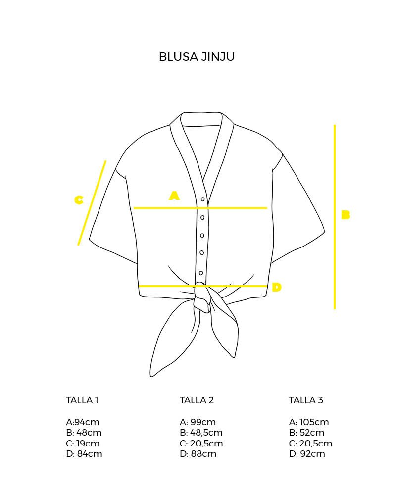guía de tallas blusa manga corta nudo frontal Jinju peSeta