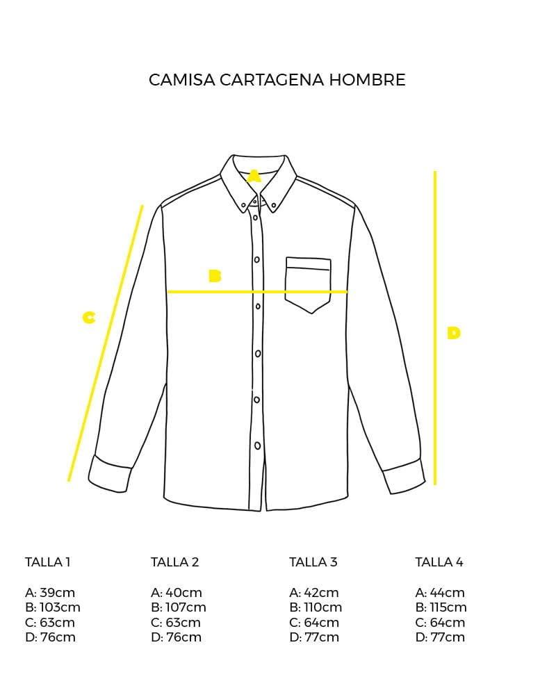 guía de tallas camisa de hombre manga larga peSeta.