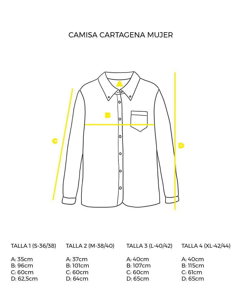 guía de tallas camisa de mujer manga larga Cartagena peSeta.