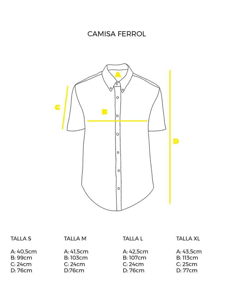 guía de tallas camisa de hombre manga corta Ferrol peSeta