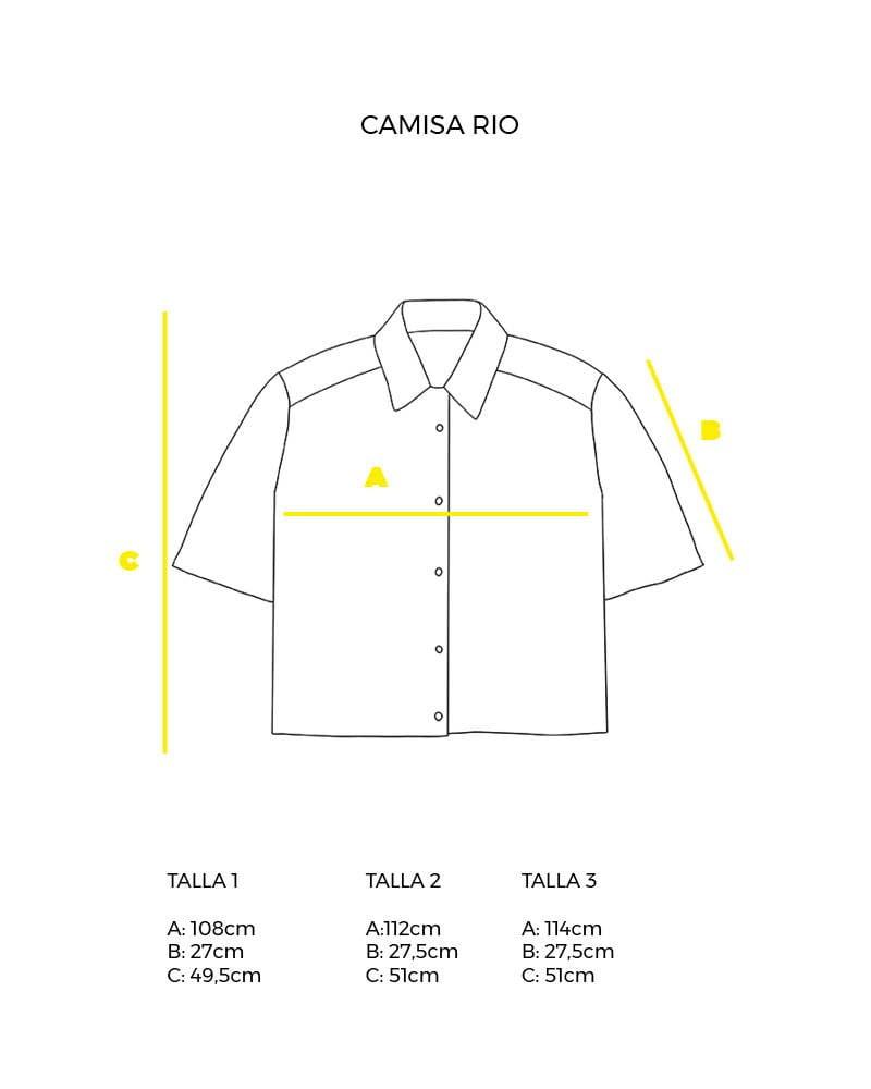 guía de tallas camisa corta Rio peSeta.