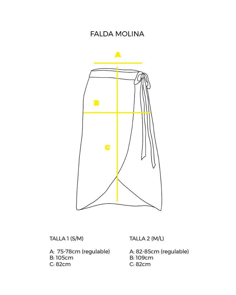 guía de tallas falda cruzada Molina peSeta.