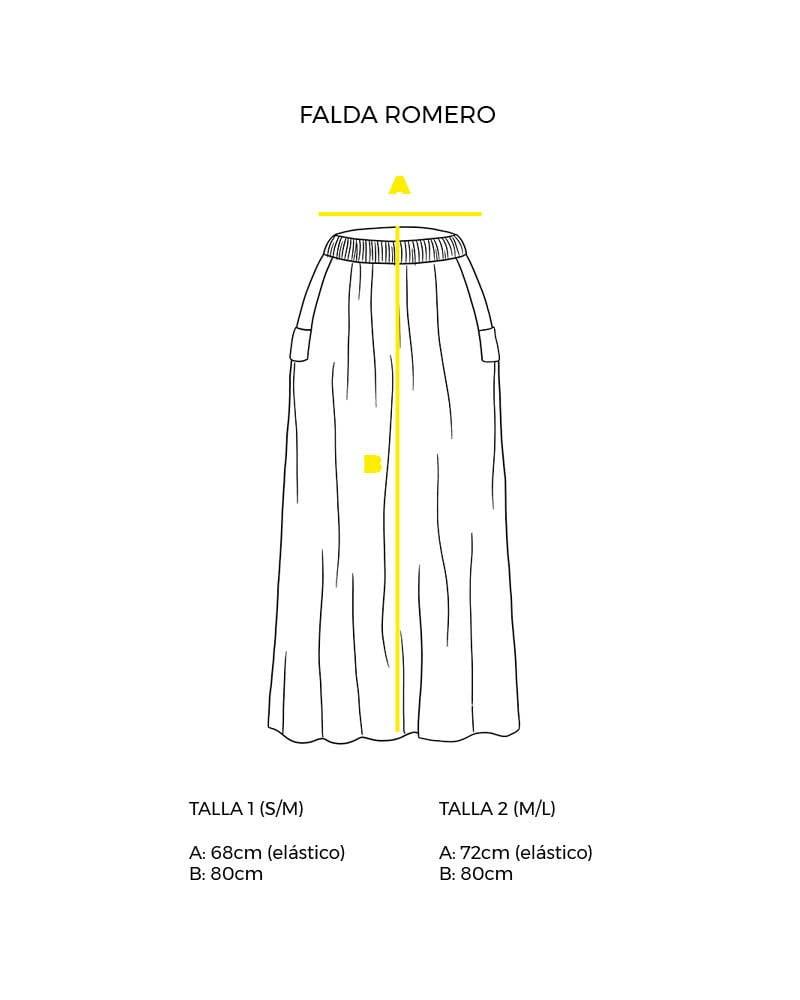 guía de tallas falda larga con bolsillos peSeta.