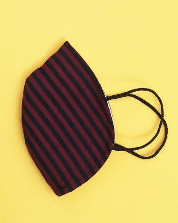 mascarilla tapabocas de rayas negras y rojas