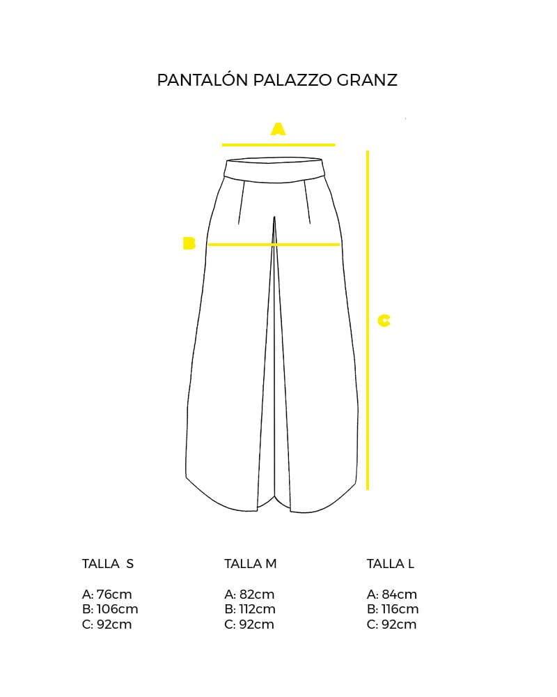 guía de tallas pantalón largo con vuelo palazzo Granz peSeta.