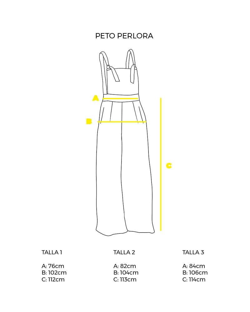 guía de tallas peto perlora pantalon largo peSeta