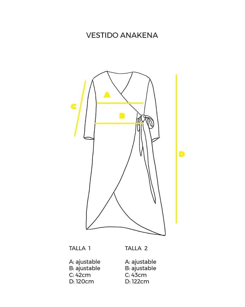 guía de tallas vestido cruzado Anakena peSeta.