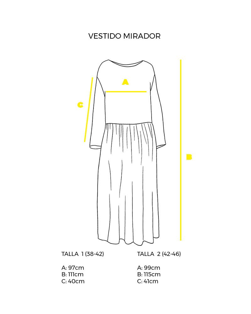guía de tallas vestido largo Mirador peSeta.
