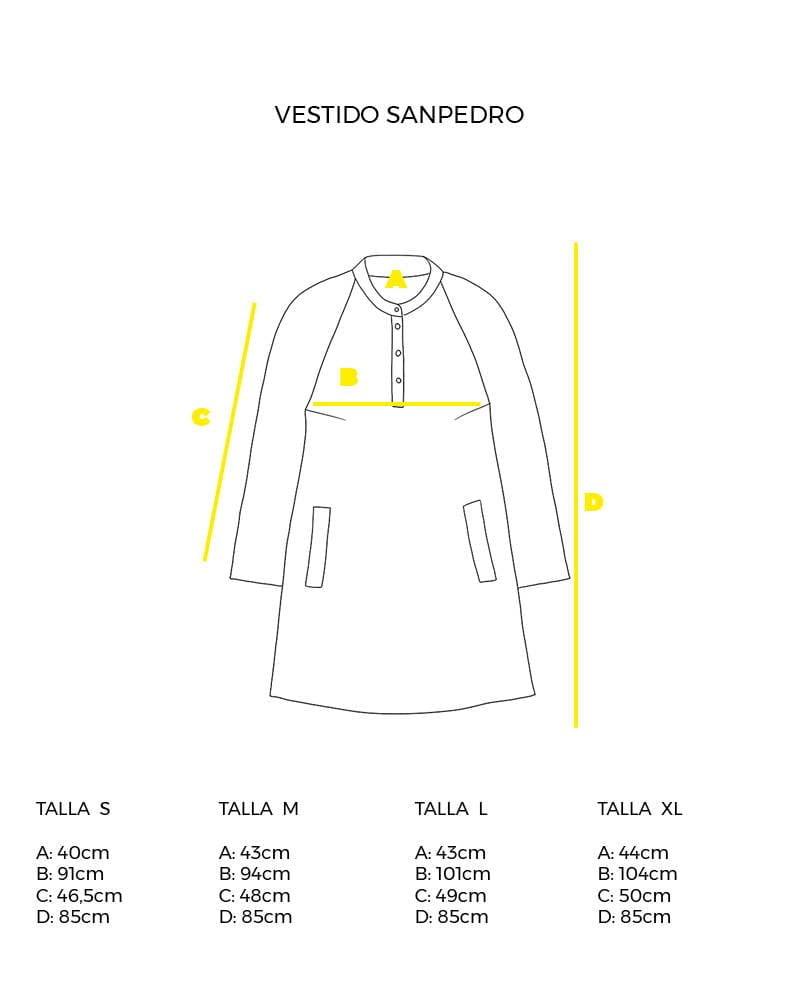 guía de tallas vestido camisero Sanpedro peSeta.